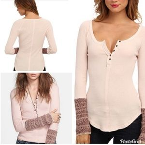 Free People Alpine Cuff thermal Light Pink Henley